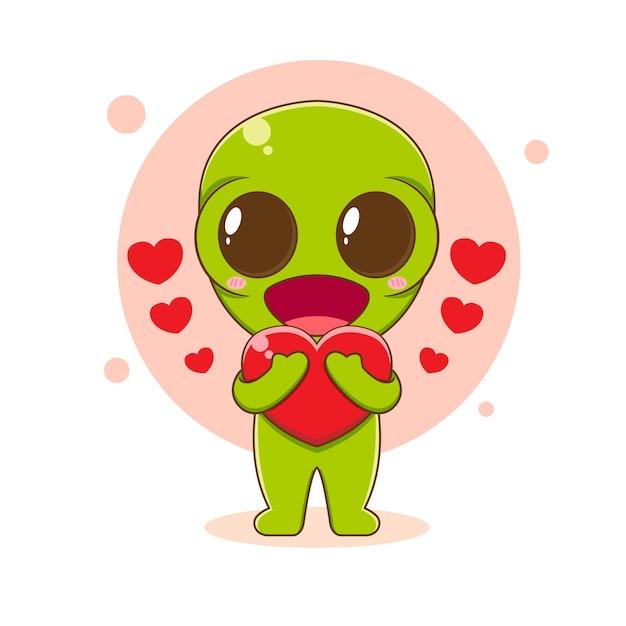 Милый инопланетный персонаж, держащий любовь