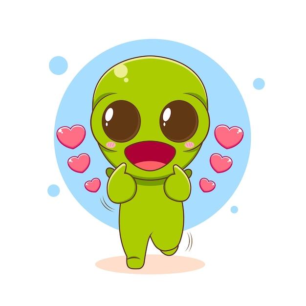 かわいいエイリアンのキャラクターが愛の指をポーズ