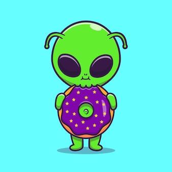 Симпатичные инопланетяне едят пончик мультфильм векторные иллюстрации значок. концепция науки еда значок изолированные premium векторы. плоский мультяшном стиле