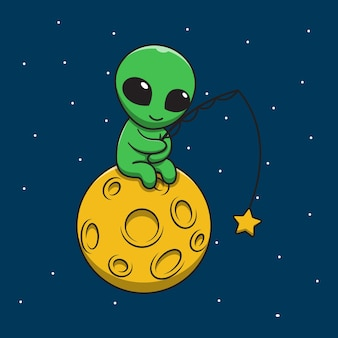 Cute alien fishing on moon cartoon illustration