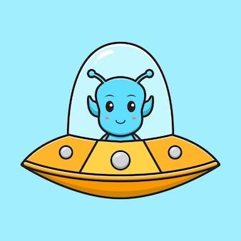 Симпатичный инопланетянин, летящий с луной, мультяшный вектор значок иллюстрации. изолированный дизайн. плоский мультяшный стиль.