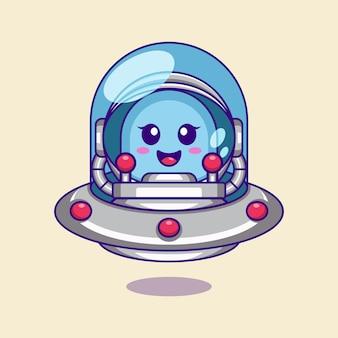 Cute alien head inside the astronaut helmet with ufo illustration