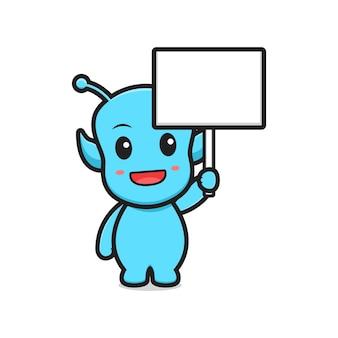 Cute alien holding blank board cartoon vector icon illustration.design isolated. flat cartoon style.
