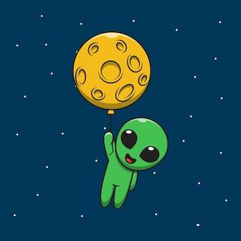 Cute alien holding moon balloon cartoon illustration