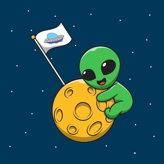 Cute alien hugging the moon cartoon illustration