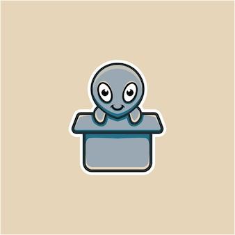 Cute alien illustration in cardboard in cartoon style