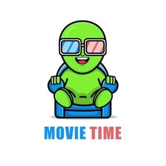 Милый инопланетянин смотрит иллюстрацию мультфильма фильма