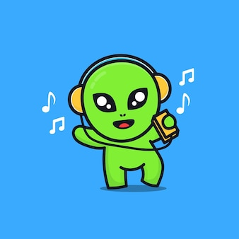 Cute alien listening to music with headphones