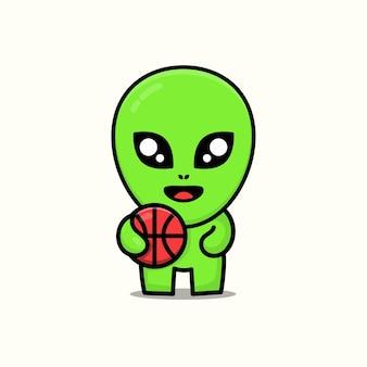 Cute alien play basketball cartoon illustration