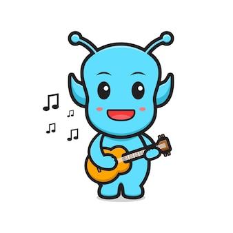 Cute alien playing guitar cartoon vector icon illustration.design isolated. flat cartoon style.