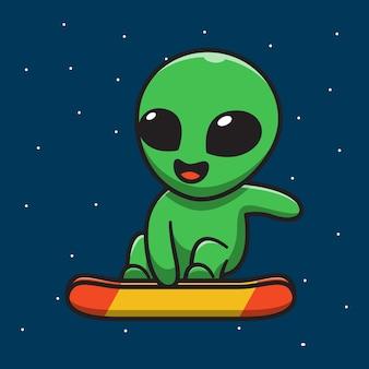 Cute alien playing skateboard on space