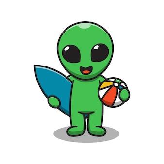 Cute alien playing surfing cartoon illustration