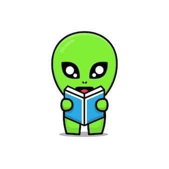 Cute alien reading a book cartoon illustration