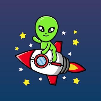 かわいいエイリアンがロケットに乗って手を振る漫画イラスト