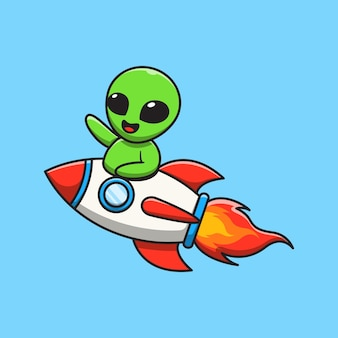 귀여운 외계인 타고 로켓과 흔들며 손 만화 일러스트 레이션