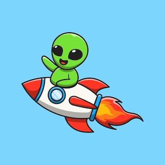 Cute alien riding rocket and waving hand cartoon illustration