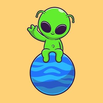 Cute alien sitting on planet with waving hand cartoon vector icon illustration. science technology icon concept isolated premium vector. flat cartoon style