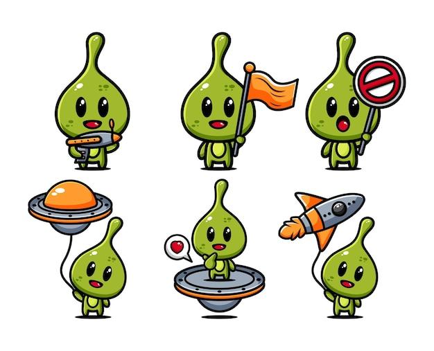 귀여운 외계인 공간 캐릭터 디자인 모음