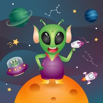 A cute alien in the space galaxy