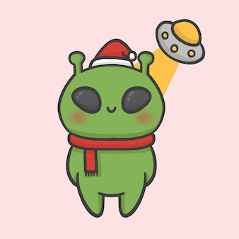 Cute alien and spaceship costume christmas hand drawn cartoon