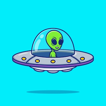 Cute alien ufo cartoon illustration. space icon concept