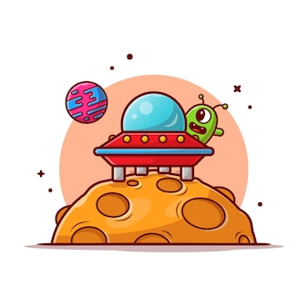 Cute alien ufo spaceship landed on the moon cartoon icon illustration.