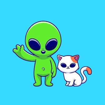 Милый инопланетянин с кошкой иллюстрации шаржа. концепция животных науки изолированы. плоский мультяшном стиле