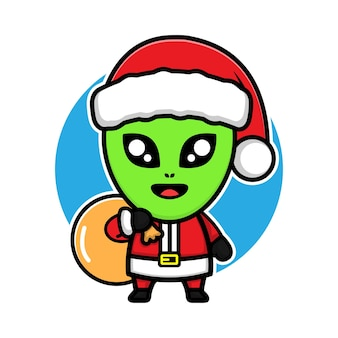 Cute alien with costume santa claus cartoon character design