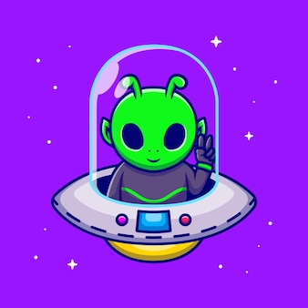 Cute alien with peace hand in spaceship ufo cartoon icon illustration.