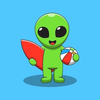 Cute alien with surfing board cartoon illustration