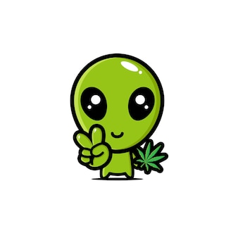 Cute aliens are holding marijuana