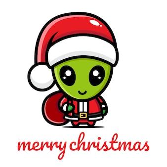 크리스마스를 축하하는 귀여운 외계인