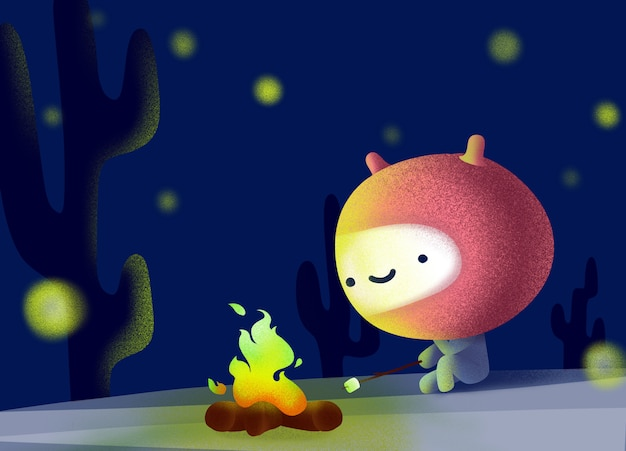 Cute aliens sit and fire in the dark and starlight.