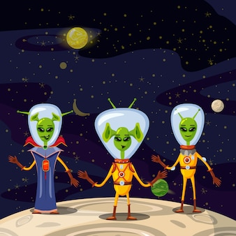 Cute aliens in space suits, spaceship crew cartoon characters