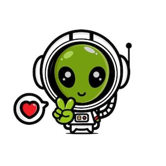 宇宙飛行士の衣装を着たかわいいエイリアン