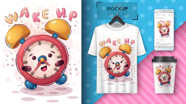 Cute allarm clock poster and merchandising