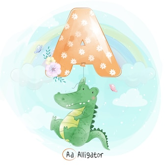 Cute alligator flying with alphabet-a balloon