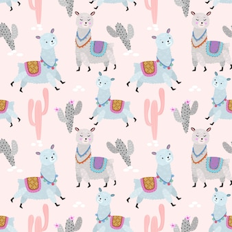 Cute allpaca with cactus pattern