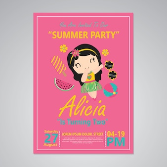 Cute aloha girl on pink background for happy birthday card