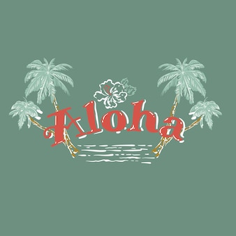 Cute aloha summer quote, with hand drawn palm tree, hibiscus flower,waves. brush vector lettering for print, tshirt and poster. inspirational quote on light green mint background color