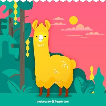 Cute alpaca background in nature