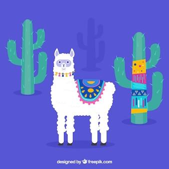 Cute alpaca background with cactus