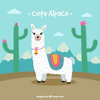 Cute alpaca background with cactus
