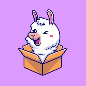 Cute alpaca in box cartoon illustration