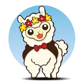 Cute alpaca cartoon, animal cartoon.