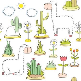 Cute alpaca cartoon pattern