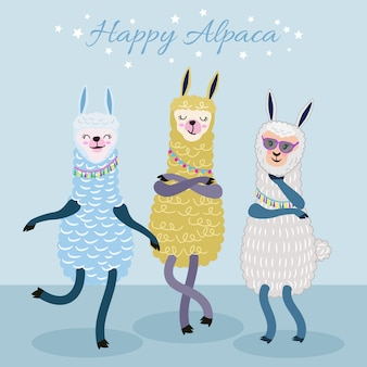 Cute alpaca character funny cartoon style.