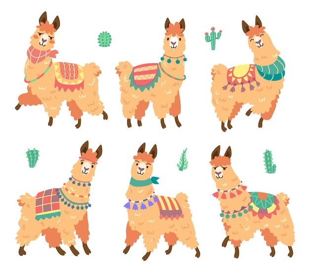 Cute alpaca character with different emotions isolated on white
