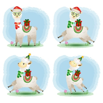 A cute alpaca christmas characters collection
