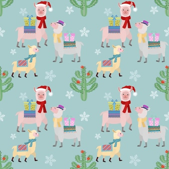 Cute alpaca in christmas season seamless pattern.